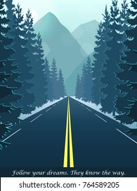 Illustration of road through the forest leading to hills and mountains, fog landscape nature scene, trees, pines, hill, road. Banner card illustration template.