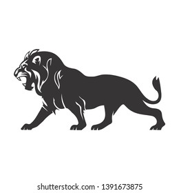 illustration of roaring lion design simple and clean concept