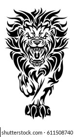 illustration of a roaring lion tattoo on isolated white background