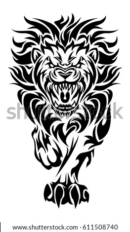Illustration Roaring Lion Tattoo On Isolated Vector De Stock Libre