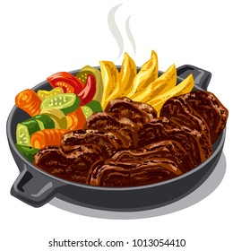 illustration of roasted meat with vegetables in pan