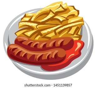 illustration of the roasted potatoes with tomato sauce on the plate