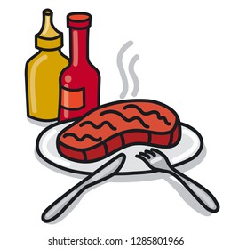 illustration of roasted steak on a plate with ketchup and sauce