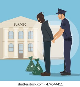 Illustration of a Robber with Money Bags Arrested by Police