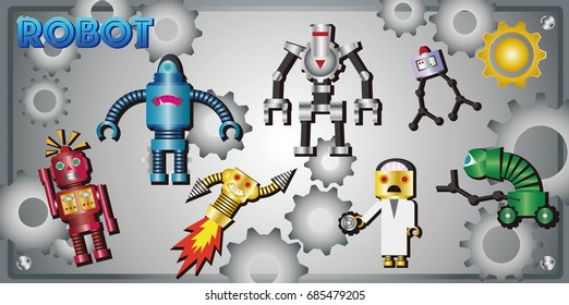 It is an illustration of a robot icon. It is a vector material.