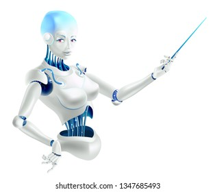 Illustration of a robot lecturer or cyborg teacher with a pointer. Humanoid female Android with artificial intelligence holding pointer in hand. Vector illustration in realistic 3D style.