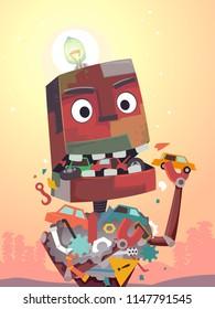 Illustration of a Robot Mascot Eating Scraps in the Junkyard