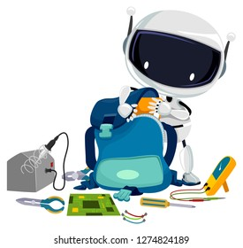 Illustration of a Robot Student Taking Out Book from a Back Pack with Different Tools for Robotics from Screwdriver to Electrical Tester