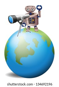 Illustration of a robot with a telescope above a globe on a white background
