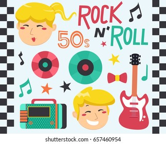 Illustration of Rock and Roll Music with Laser Discs, Radio and Electric Guitar