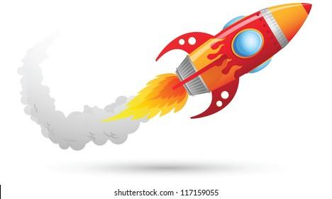 Illustration of Rocket flying