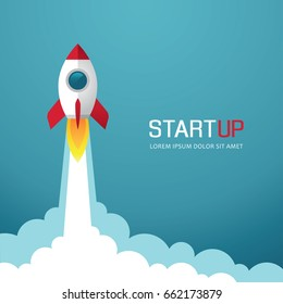 Illustration with rocket. New business or project start up design concept.