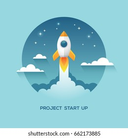 Illustration with rocket in the sky. New business or project start up design concept.