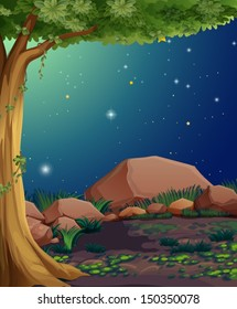 Illustration of a rocky forest