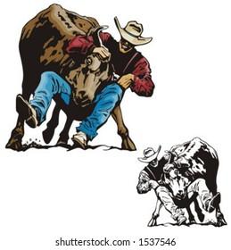 Illustration of a rodeo bullfighting.