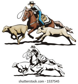 Illustration of a rodeo calf roping