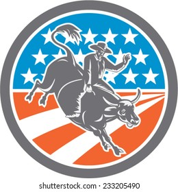 Illustration of rodeo cowboy riding bucking bull set inside circle with american stars and stripes flag in the background done in retro style.