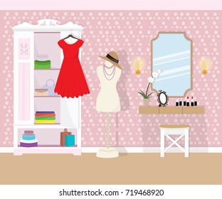 Illustration of room interior design with the dressing table and wardrobe. Flat style vector illustration.