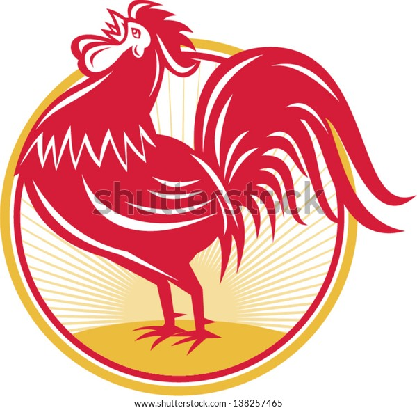 Illustration of a rooster cockerel crowing facing side set inside circle done in retro style