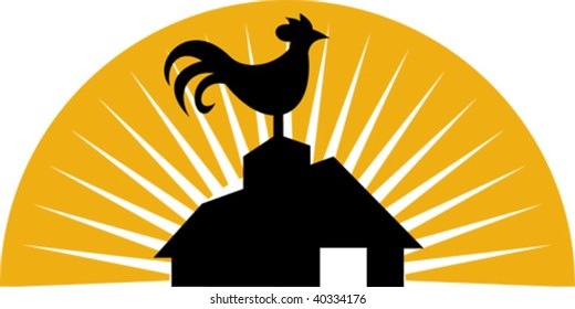 illustration of a Rooster crowing on top of farm house or barn