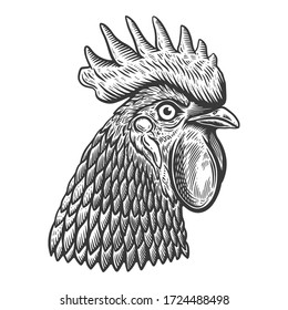 Illustration of rooster head in engraving style. Design element for logo, label, sign, poster, t shirt. Vector illustration