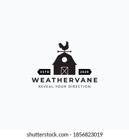 Illustration of rooster weathervane and barn vector good for farm company logo design