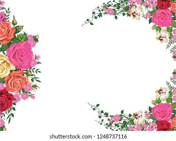 illustration with rose floral frame decoration on white background