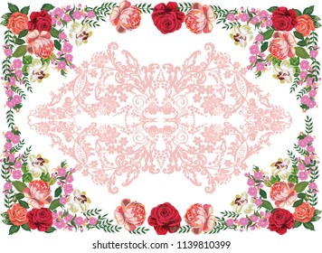 illustration with rose flowers and brown ornament on white background