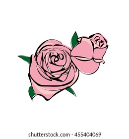 illustration rose flowers vector file, sketch style , doodle, pink two rose