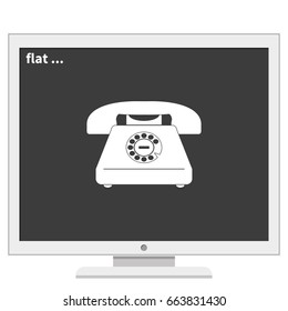 Illustration of a rotary phone.