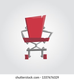 An illustration of a rough sloppy designed red office chair