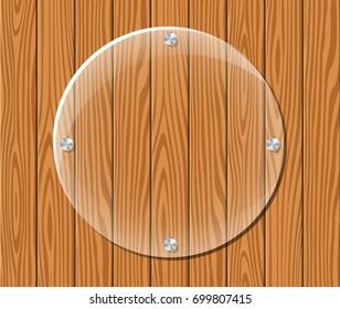 Illustration of round acrylic frame on wood background