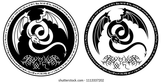 Illustration round emblem with a dragon-like creature and magic symbols in two variations