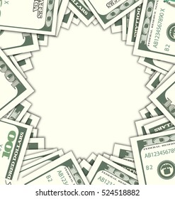 Illustration Round Frame with Dollars on White Background. Space for Your Text. Design Elements - Vector