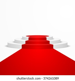 illustration of a round podium with a red carpet leading to it, eps10 vector