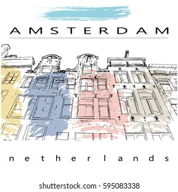 An illustration of a row of typical dutch canal houses in Amsterdam, the Netherlands. Stylized facades of old buildings. Sketch style with watercolor like brush strokes in pastel colors .