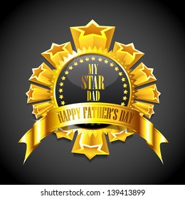 illustration of royal badge with golden frame showing Father's Day message