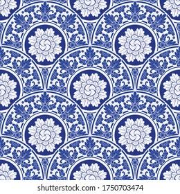 illustration Royal indigo blue Porcelain Thai flower traditional ornamental element style design for seamless pattern vector