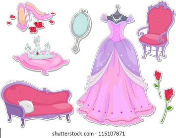 Illustration of Royalty Items That Can be Printed Out as Stickers