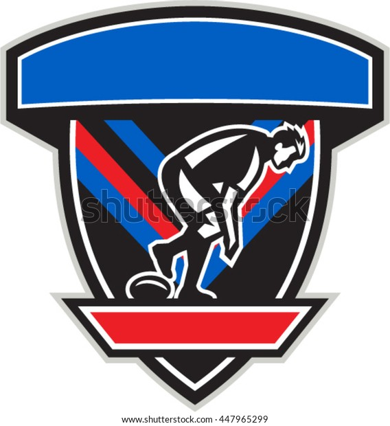Illustration of a rugby league player playing ball viewed from the side set inside shield crest done in retro style.