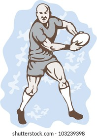 illustration of a Rugby Player Running With Ball front on isolated background.