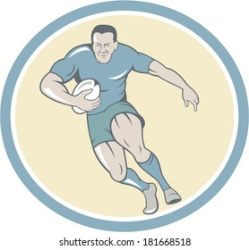 Illustration of a rugby player running with the ball viewed from front set inside circle done in cartoon style.