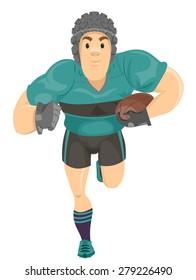 Illustration of a Rugby Player Running with the Ball