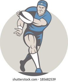 Illustration of a rugby player running passing the ball facing front done in cartoon style on isolated background.