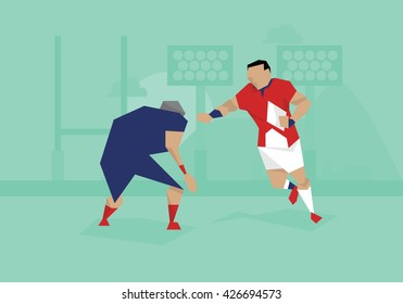 Illustration Of Rugby Players Competing In Match