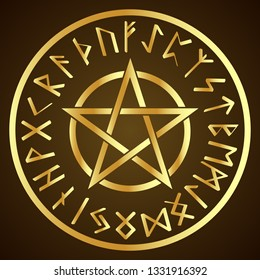 Illustration of the runic alphabet and the pentagram in a circle.