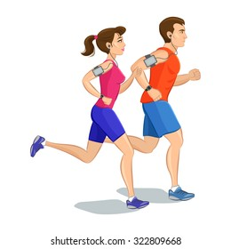 Illustration of a runners - couple running, health conscious concept. Sporty woman and man jogging