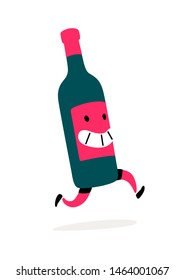 Illustration of a running bottle of wine. Vector. Character bottle with wine or liquor. Icon for site on white background. Sign, logo for the store alcoholic products. Delivery of alcoholic beverages.