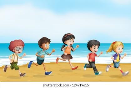 Illustration of running children near the sea