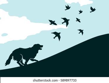 Illustration of running dog with birds